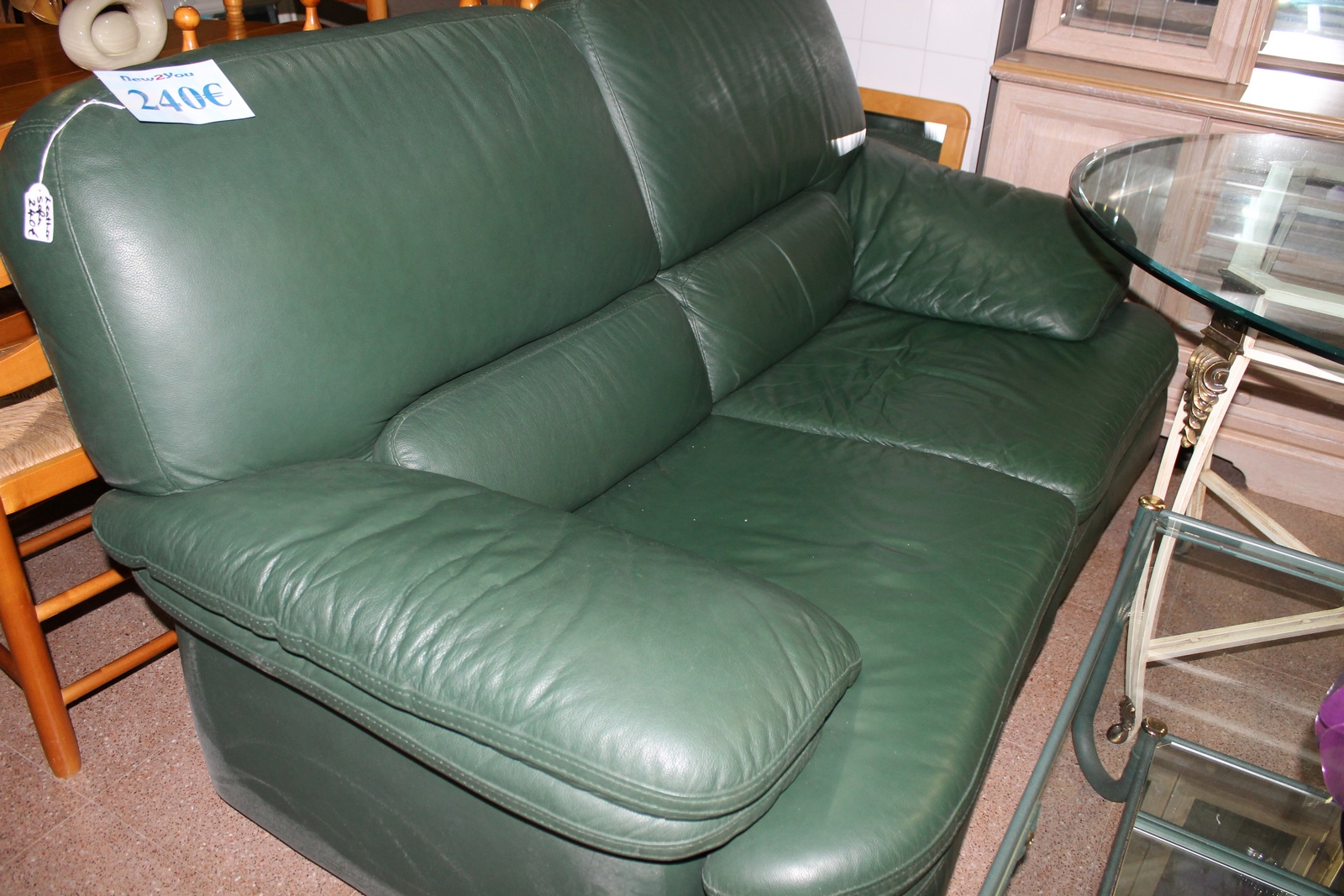 Green leather sectional sofa creative of green leather for Second hand sofas