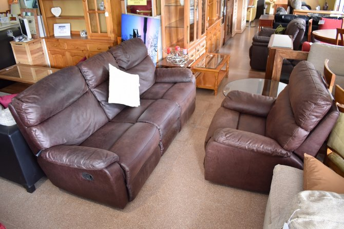 Second-hand furniture Faux Leather Recliner Sofa and Chair, Torrevieja, Spain
