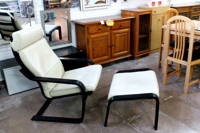 Second-hand furniture Leather Chair and Footstool, Torrevieja, Spain